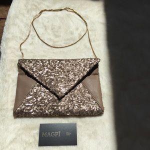 Deux Lux Vegan Leather / Sequin Envelope Clutch